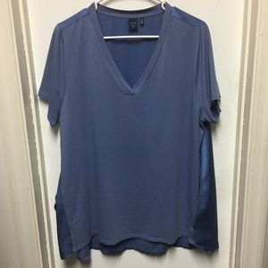 Kaari Blue Curvy two toned powder blue top